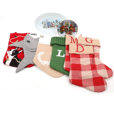 Boston Terrier Embroidery and Other Christmas Stockings with Christmas Plates