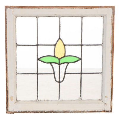 Stained Glass Window in Wooden Frame, Early to Mid 20th Century