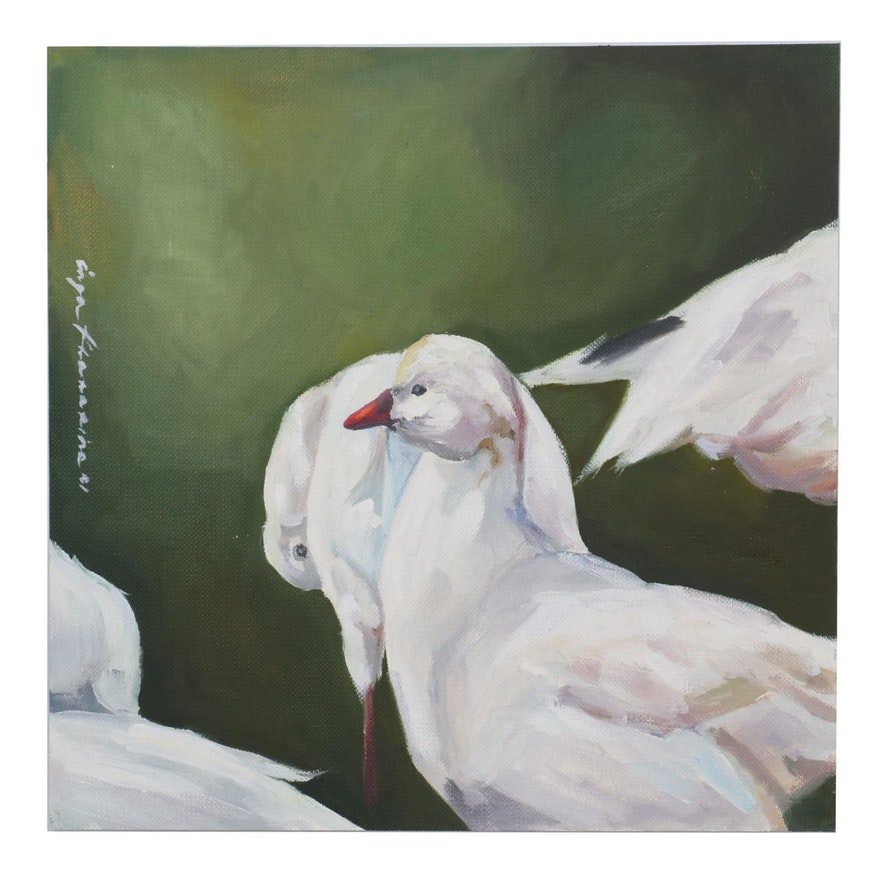 Inga Khanarina Oil Painting of Birds