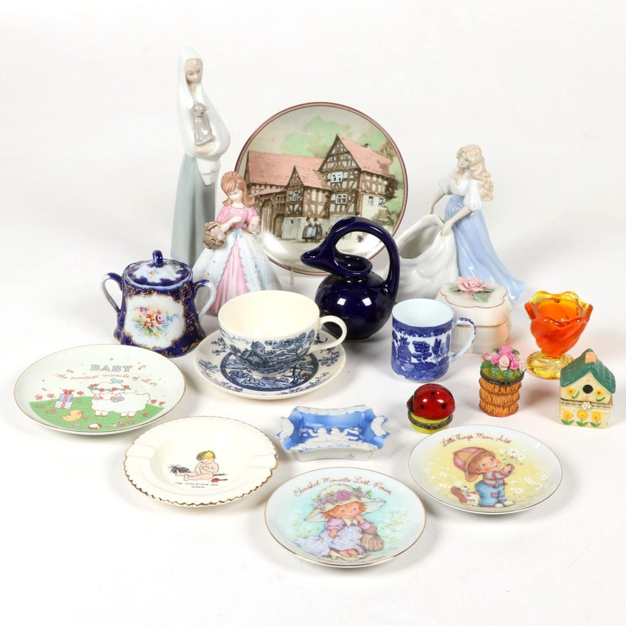 Porcelain Figurines and Assorted Tableware, Mid to Late 20th Century