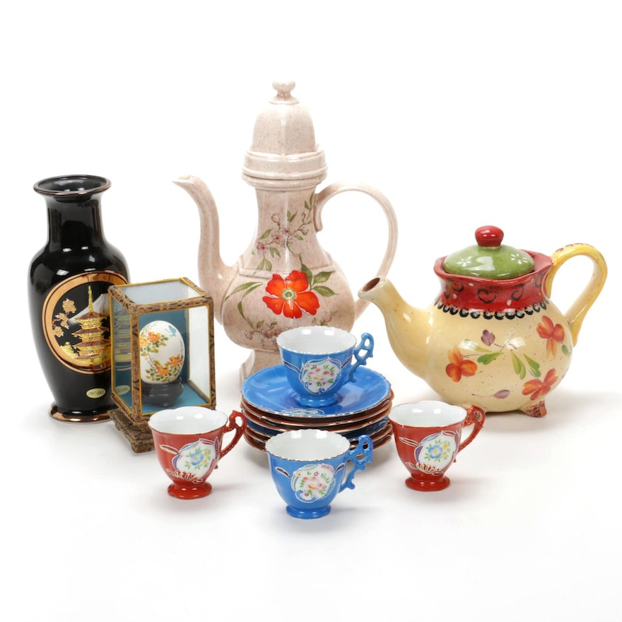Engraved Japanese Chokin Vase, Teapots, and Porcelain Teacups