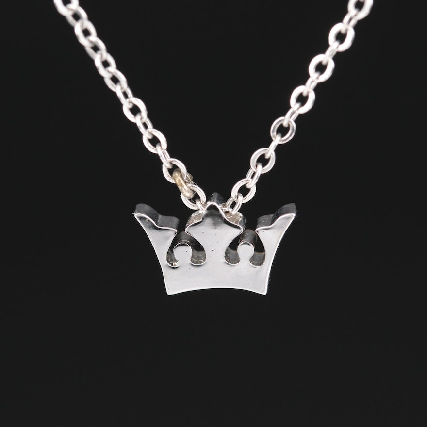 Sterling Crown Pendant Necklace