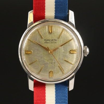 Stainless Steel Gruen Precision Automatic Waterproof Stainless Steel Wristwatch