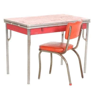 Laminate Top Extendable Draw-Leaf Kitchen Table with Vinyl Upholstered Chair