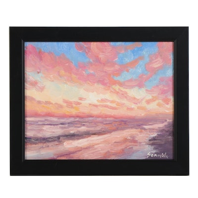 Sean Wu Impressionist Style Oil Painting of Beach at Sunset, 2021