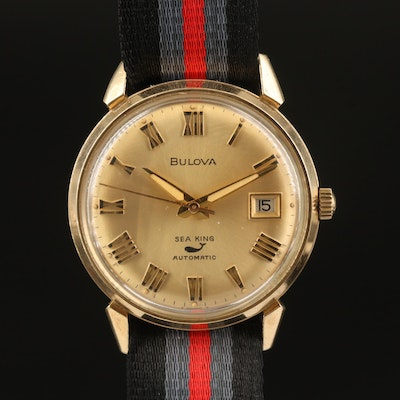 1969 Bulova Sea King Gold Plate and Stainless  Automatic Wristwatch with Date