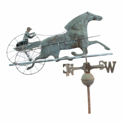 Running Horse-Drawn Carriage Hand-Forged Copper Weather Vane