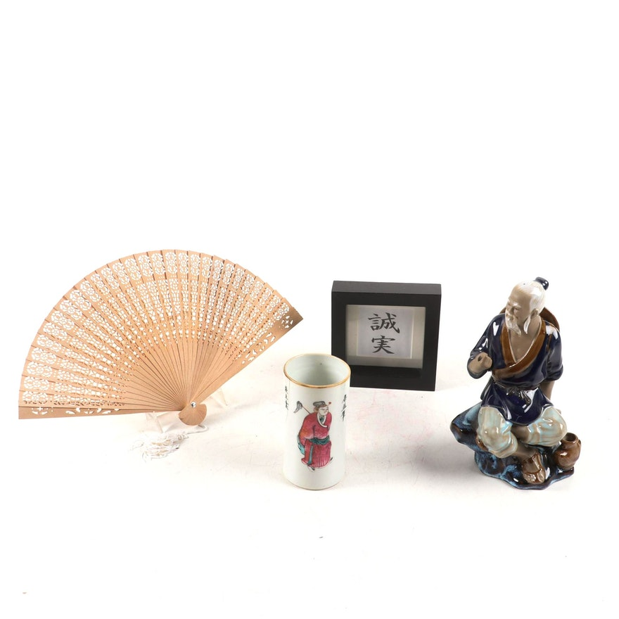 Chinese Wanjiang Fisherman Figurine with Sandalwood Fan and More