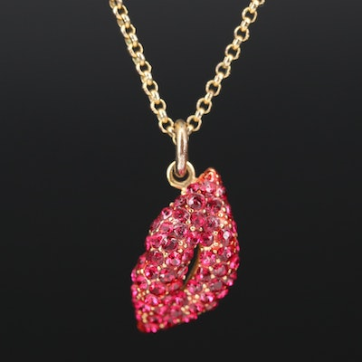 Juicy Couture Rhinestone Lip Necklace