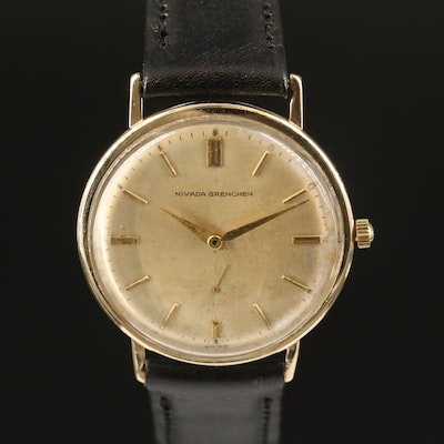 "Vintage Nivada ""Grenchen"" 10K Gold Filled Stem Wind Wristwatch"