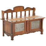 French Provincial Style Cedar-Lined Wood Lift-Lid Storage Bench