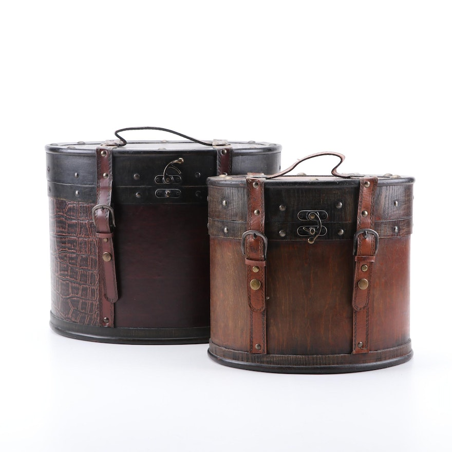 Eastern Influence Vintage Style Hat Boxes