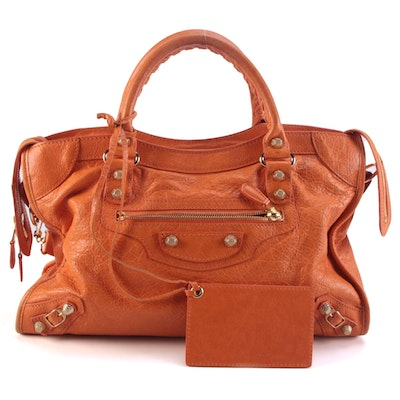 Balenciaga Giant 12 City Two-Way Bag in Tangerine Lambskin Leather