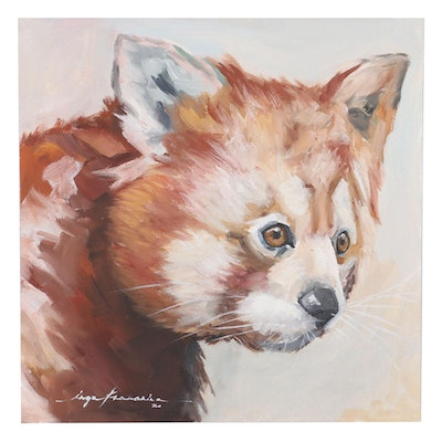 Inga Khanarina Oil Painting of Red Panda