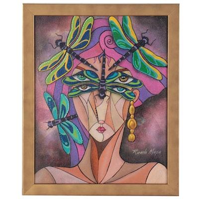 Ricardo Maya Acrylic Portrait Painting of Woman with Dragonflies, 21st Century