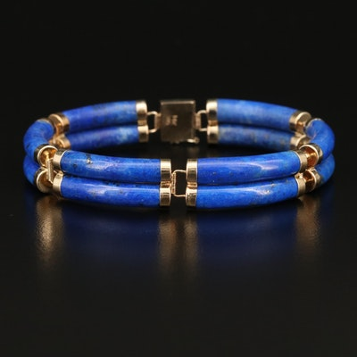 "Chinese 14K Lapis Lazuli Double Row ""Good Fortune"" Bracelet"