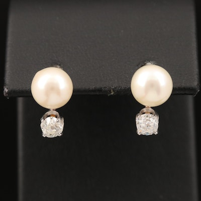10K Pearl and Diamond Earrings