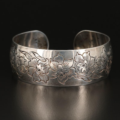 "Vintage S.Kirk & Sons ""Jonquil"" Sterling Silver Wide Cuff"