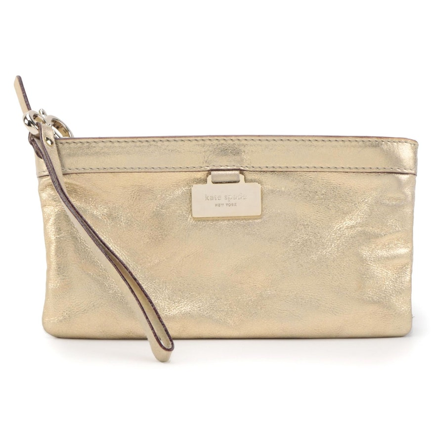 Kate Spade New York Metallic Gold Leather Wristlet