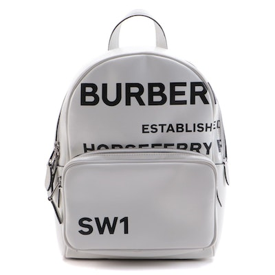 Burberry Compack Horseferry Backpack in Coated Canvas with Hand-Painted Trims