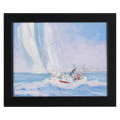 Sean Wu Oil Painting of Sailboat with Distant City Skyline, 2021