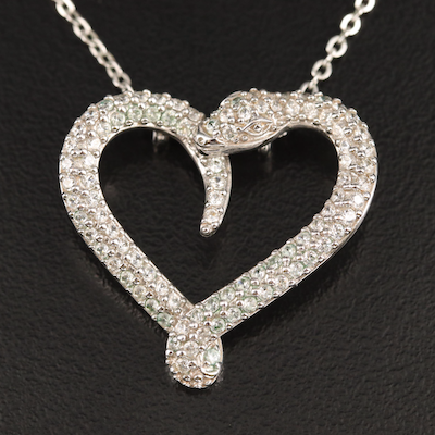 Swarovski Snake Heart Necklace with Cubic Zirconia