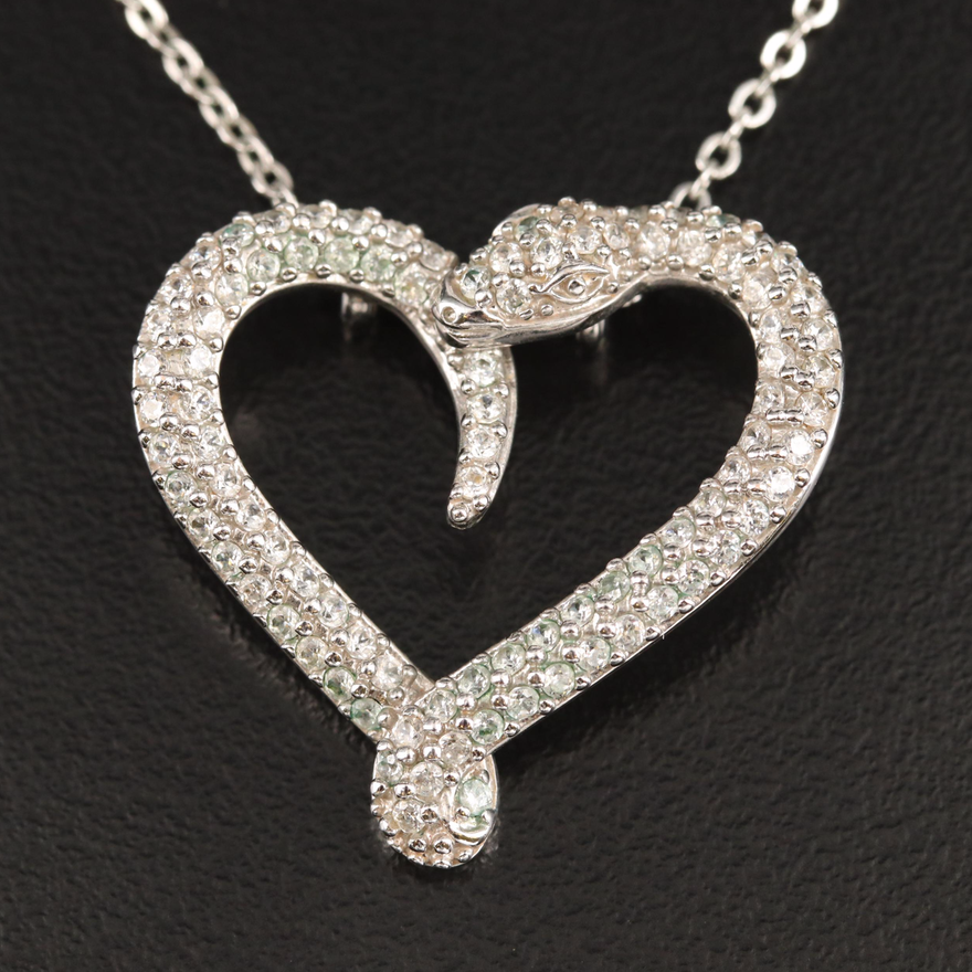 Swarovski Snake Heart Necklace with Cubic Zirconia