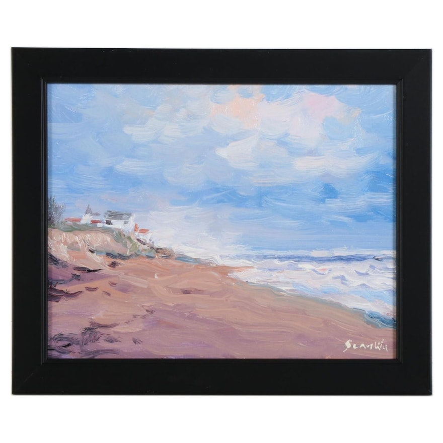 Sean Wu Oil Painting of Coastal Beach Scene with Distant Village, 2021