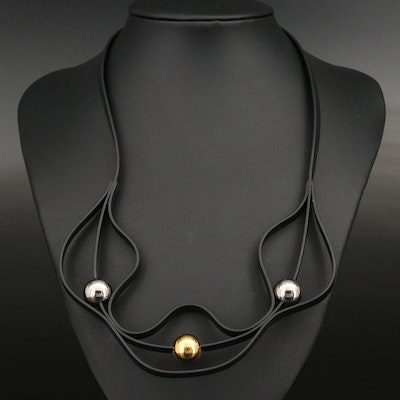 Hermès Black Leather Triple Orb Necklace