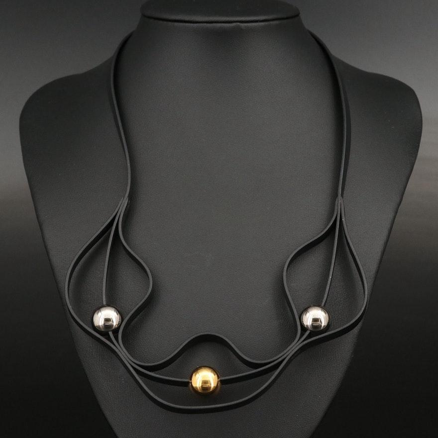 Hermès Black Leather Triple Orb Necklace