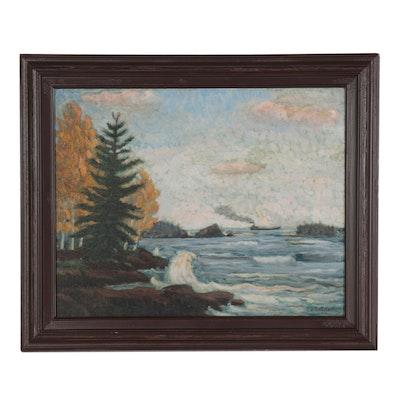 Carl Olaf Erickson Landscape Oil Painting of Lake Superior, 1915