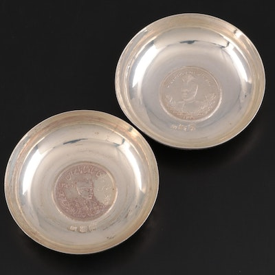 Persian Chased 800 Silver Dīnār Coin Bowls