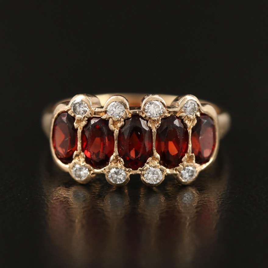 14K Garnet and Diamond Ring