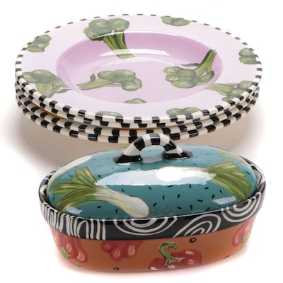 Droll Designs Vegetable Themed Pasta Bowls and Medium Oval Casserole