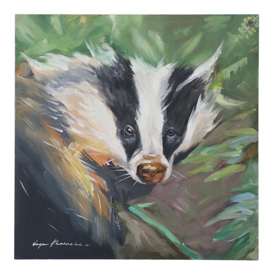 Inga Khanarina Oil Painting of Badger