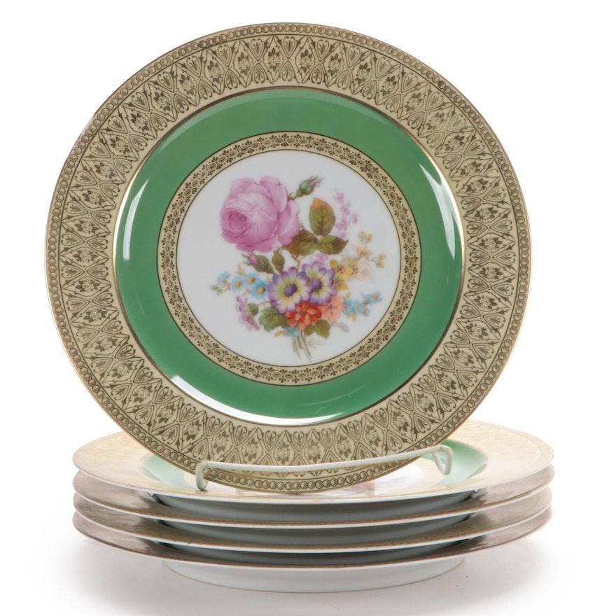 Tirschenreuth Porcelain Factory Gold Filigree Floral Dinner Plates, Mid-20th C.
