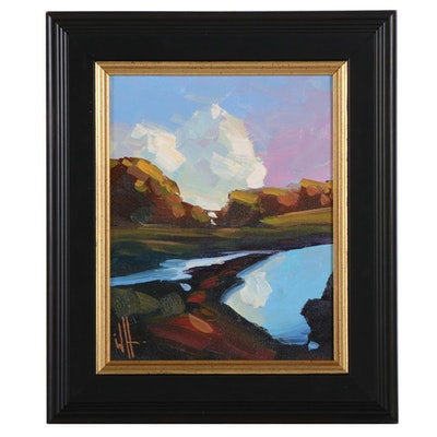 William Hawkins Rural Landscape Oil Painting, 2021