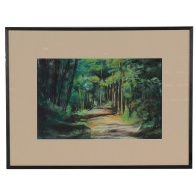 """Leigh Rodenbough Pastel Drawing """"Into the Woods,"""" Late 20th Century"""