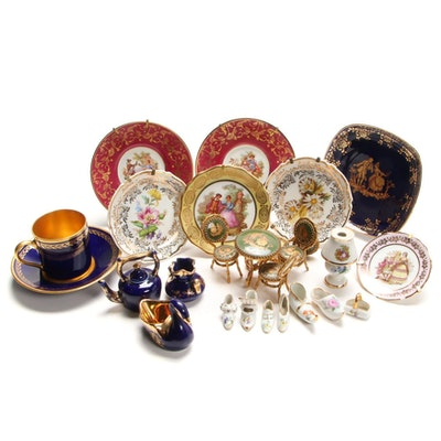 Miniature Limoges Plates with Other Decorativ Accessories, Mid-Late 20th Century