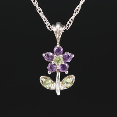 Sterling Peridot and Amethyst Flower Necklace