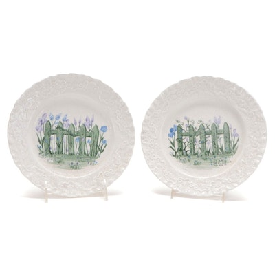 "Ralph Lauren Wedgwood ""Claire"" Hobbyist Hand-Painted Plates, Late 20th Century"