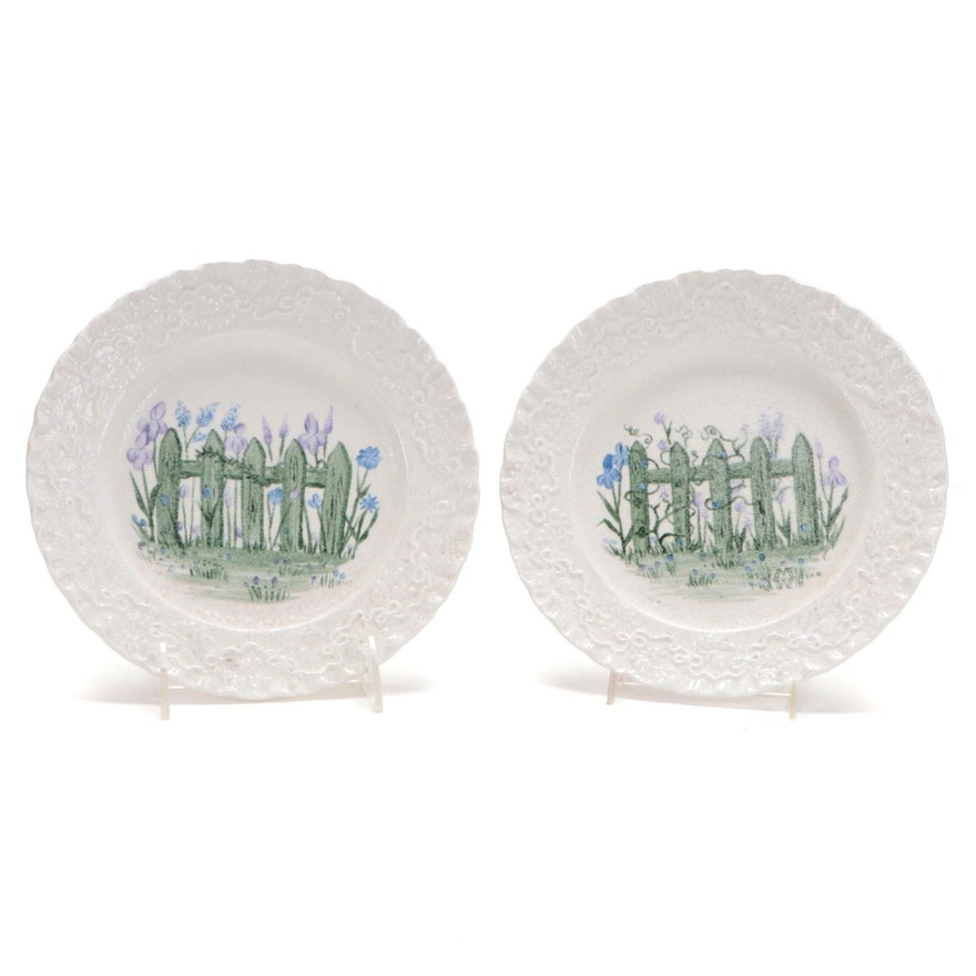 """Ralph Lauren Wedgwood """"Claire"""" Hobbyist Hand-Painted Plates, Late 20th Century"""