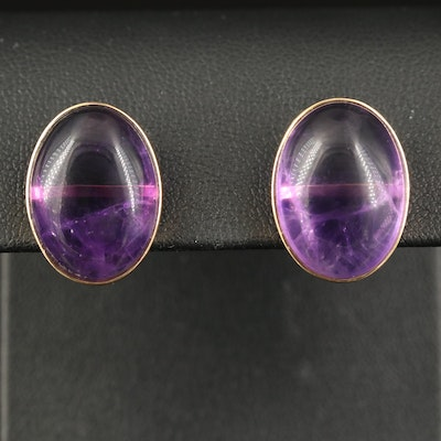14K Amethyst Button Earrings