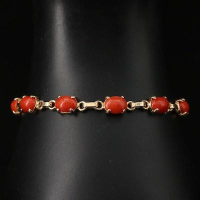 14K Coral Link Bracelet