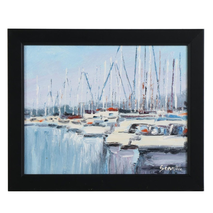 Sean Wu Impressionist Style Oil Painting of Harbor Scene with Docked Boats, 2020