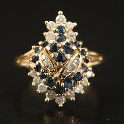 14K Diamond and Sapphire Cluster Ring