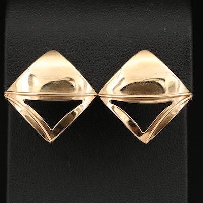 14K Geometric Motif Earrings