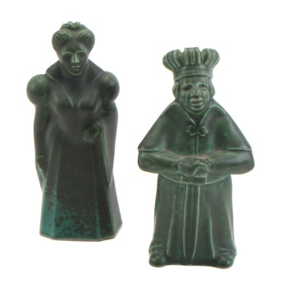 King and Queen Matte Green Ceramic Figurines, Mid-20th Century