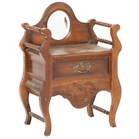French Provincial Style Wooden Vanity Stand with Drawer and Mirror