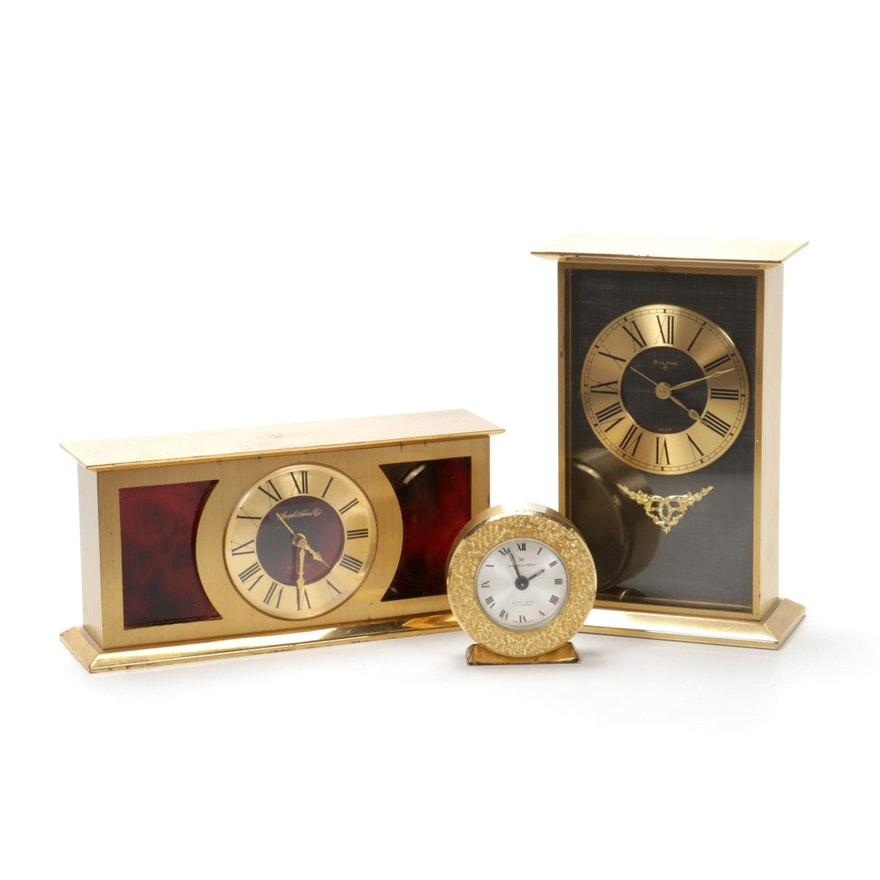Brass Desk Clocks, Mid to Late 20th Century